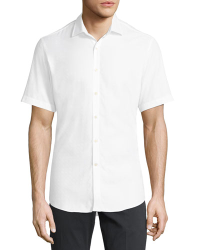 Men's Gancini-Jacquard Short-Sleeve Sport Shirt, White