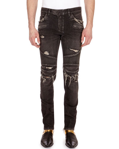 Distressed Skinny Moto Jeans