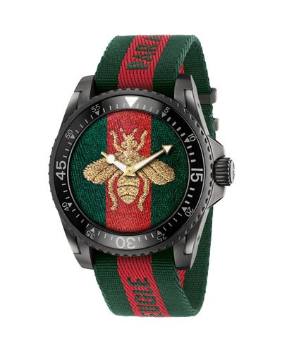 45mm Gucci Dive Bee Watch w/ Nylon Web Strap