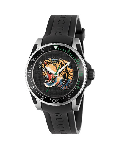 40mm Gucci Dive Tiger Watch w/ Rubber Strap, Black/Yellow