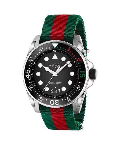 9df78046ab5 45mm Gucci Dive Watch w  Nylon Web Strap