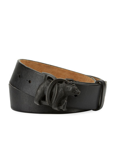 Bear-Buckle Leather Belt, Black