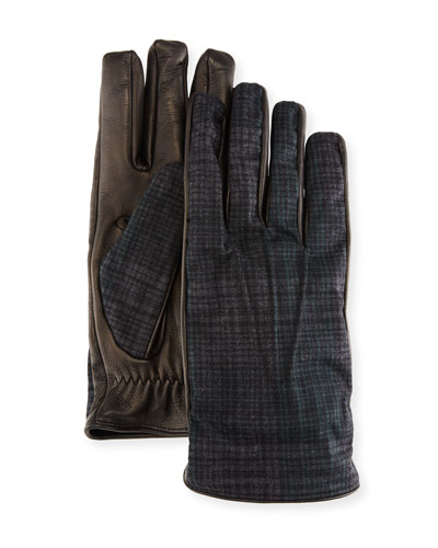 Tessuto/Napa Leather Gloves