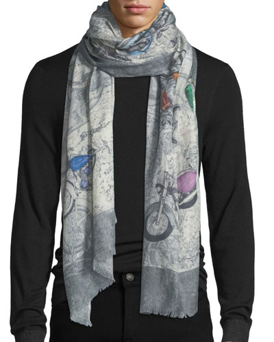 Cashmere-Blend Motorcycle-Print Scarf