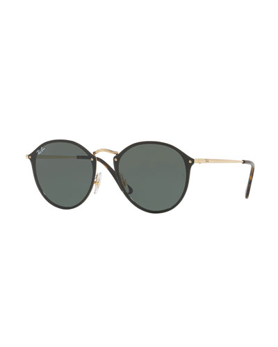 Blaze Round Flat Mirrored Sunglasses