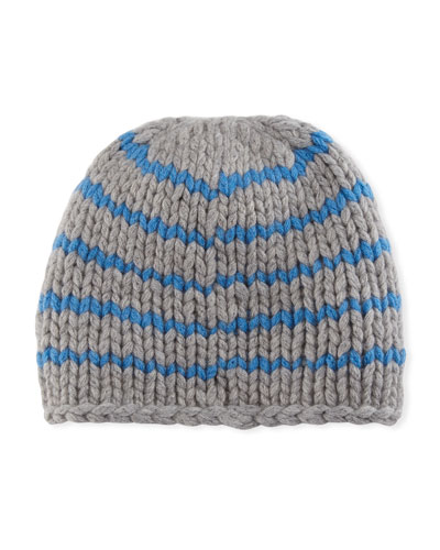 Striped Knit Cashmere Beanie Hat