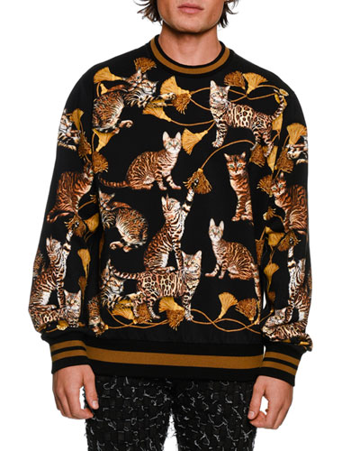 DOLCE & GABBANA Virgin Wool Sweather With Embroidered Patch in Black