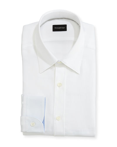 Woven Mesh Dress Shirt, White
