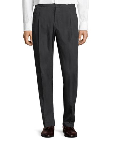 Men's Drawstring-Waist Stretch-Cotton Pleated Sport Pants