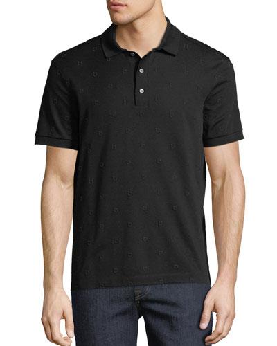 Men's Gancio-Embroidered Polo Shirt
