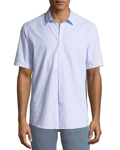 Men's Textured Cotton Short-Sleeve Sport Shirt