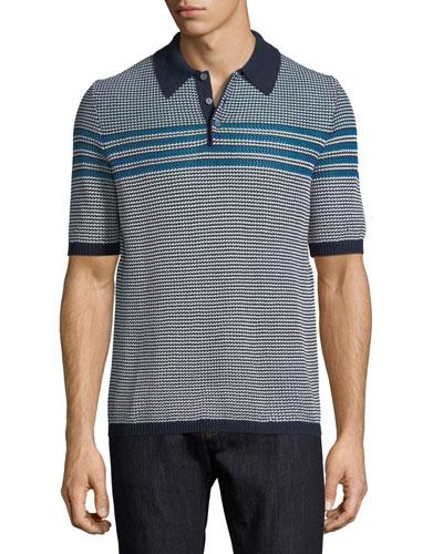 Horizontal-Striped Polo Shirt