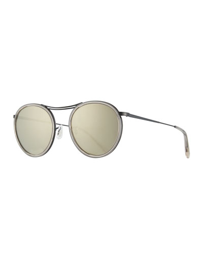 MP-3 30th Anniversary Round Sunglasses, Dune/Gray Goldtone