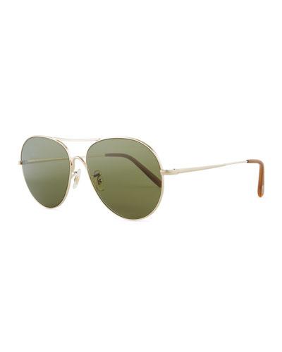 Rockmore Metal Oversized Pilot Sunglasses, Gold/Green