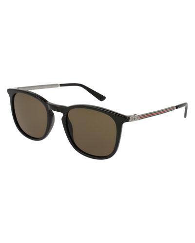 Men's Square Optyl Web Sunglasses, Black