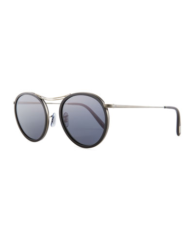 MP-3 30th Anniversary Round Sunglasses, Black/Blue