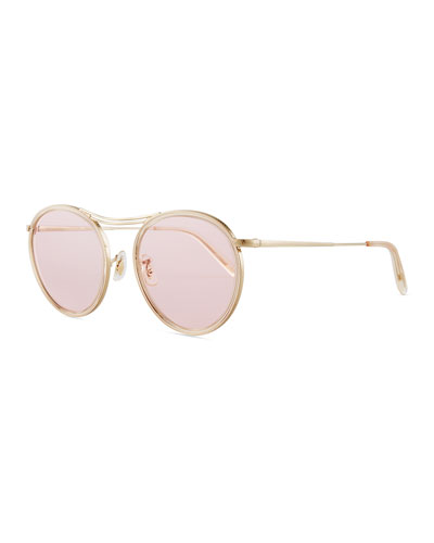 MP-3 30th Anniversary Round Photochromic Sunglasses, Buff/Pink Wash