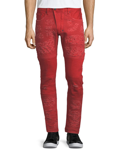 Windsor Distressed Skinny Moto Jeans, Orange
