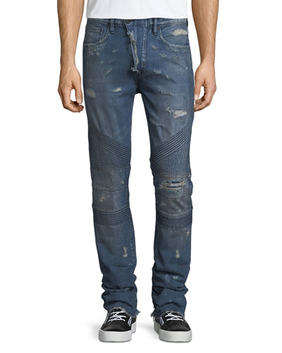 Le Sabre Distressed Tapered Moto Jeans