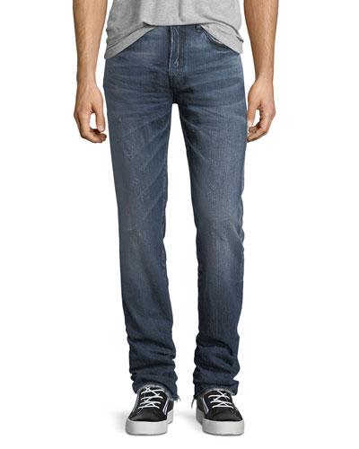 Distressed Denim Slim-Straight Jeans