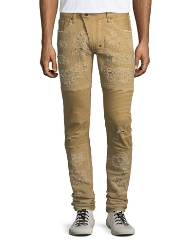Windsor Distressed Skinny Moto Jeans, Khaki