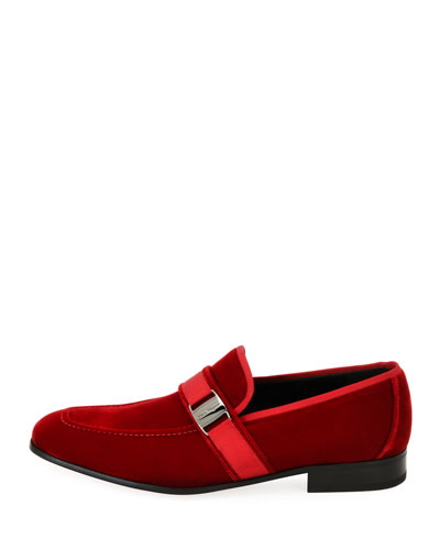 Velvet Formal Loafer, Red