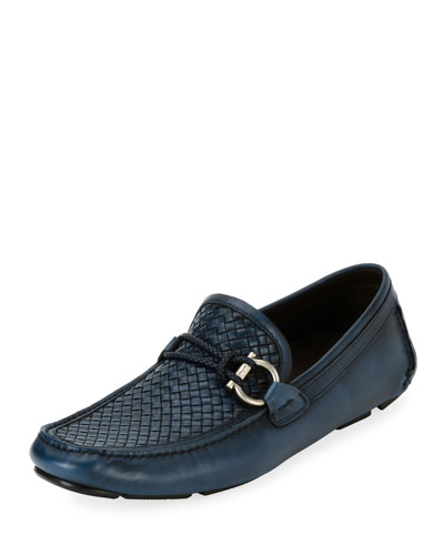 Woven Leather Gancio Driver, Blue