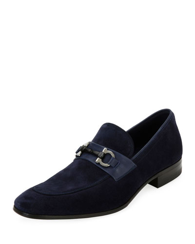 Suede Slip On Gancini Loafer