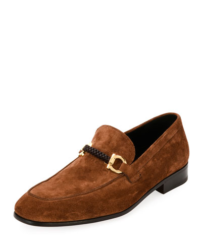 Suede Braided Gancini Loafer, Brown