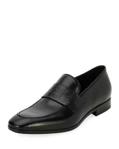 Leather Gancio-Stamped Loafer, Black