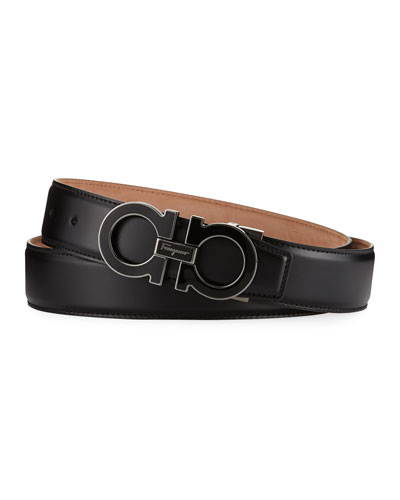 Men's Enamel Double Gancini Belt, Black