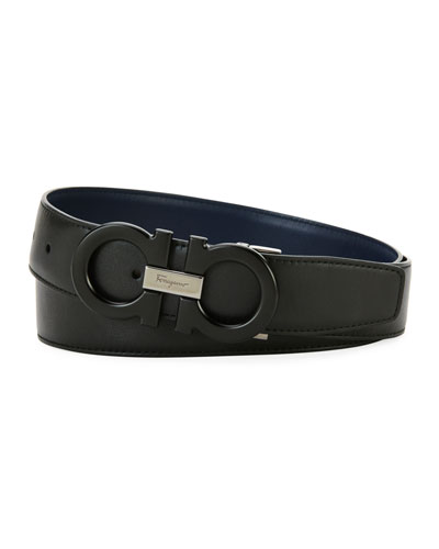 Tonal Double-Gancio Leather Belt