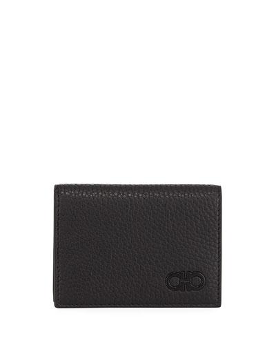 Tonal-Gancini Leather Bi-Fold Wallet