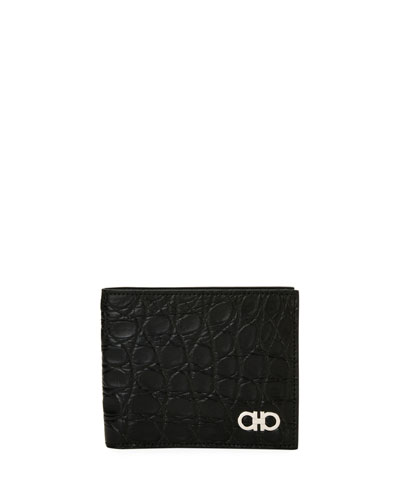 Men's Crocodile 8-Card Bi-Fold Wallet