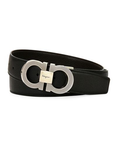 Etched Double-Gancio Leather Belt
