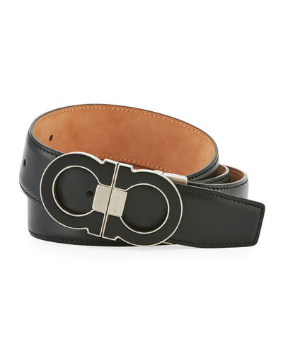 Leather Double Gancini-Buckle Belt, Black