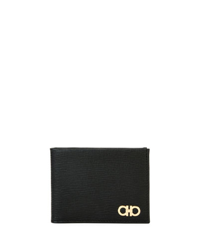 Revival Gancini Bi-Fold Leather Wallet with Window, Black