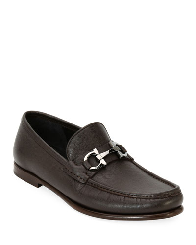 Textured Leather Gancini Loafer
