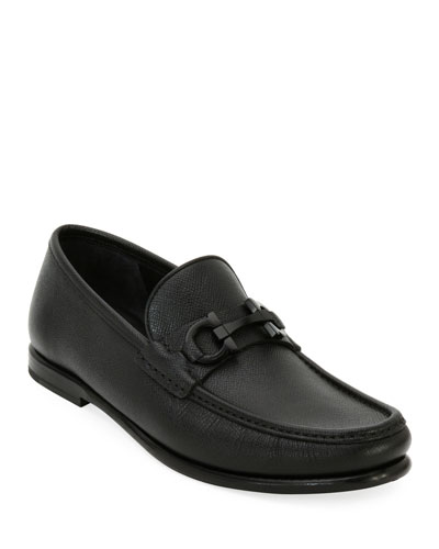 Textured Leather Gancini Moccasin Loafer