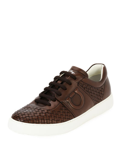 Woven Leather Low-Top Sneaker, Medium Brown