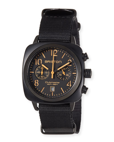 Clubmaster Classic Chronograph Watch, Black/Orange