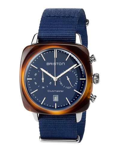 Clubmaster Vintage Acetate Chronograph Watch, Tortoise/Blue