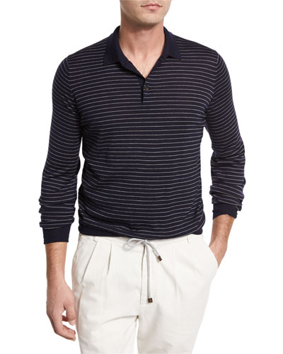 Fine-Gauge Wool-Cashmere Striped Long-Sleeve Polo Shirt