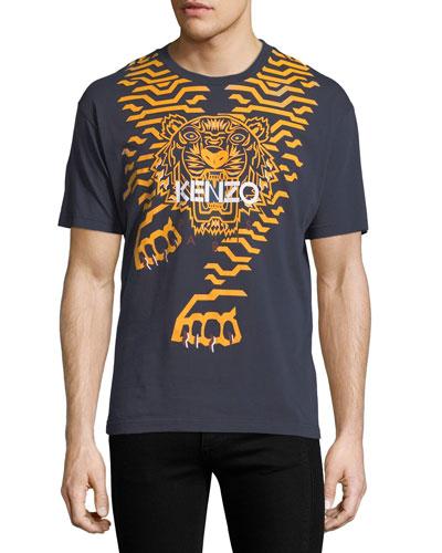 Geometric Tiger-Graphic T-Shirt