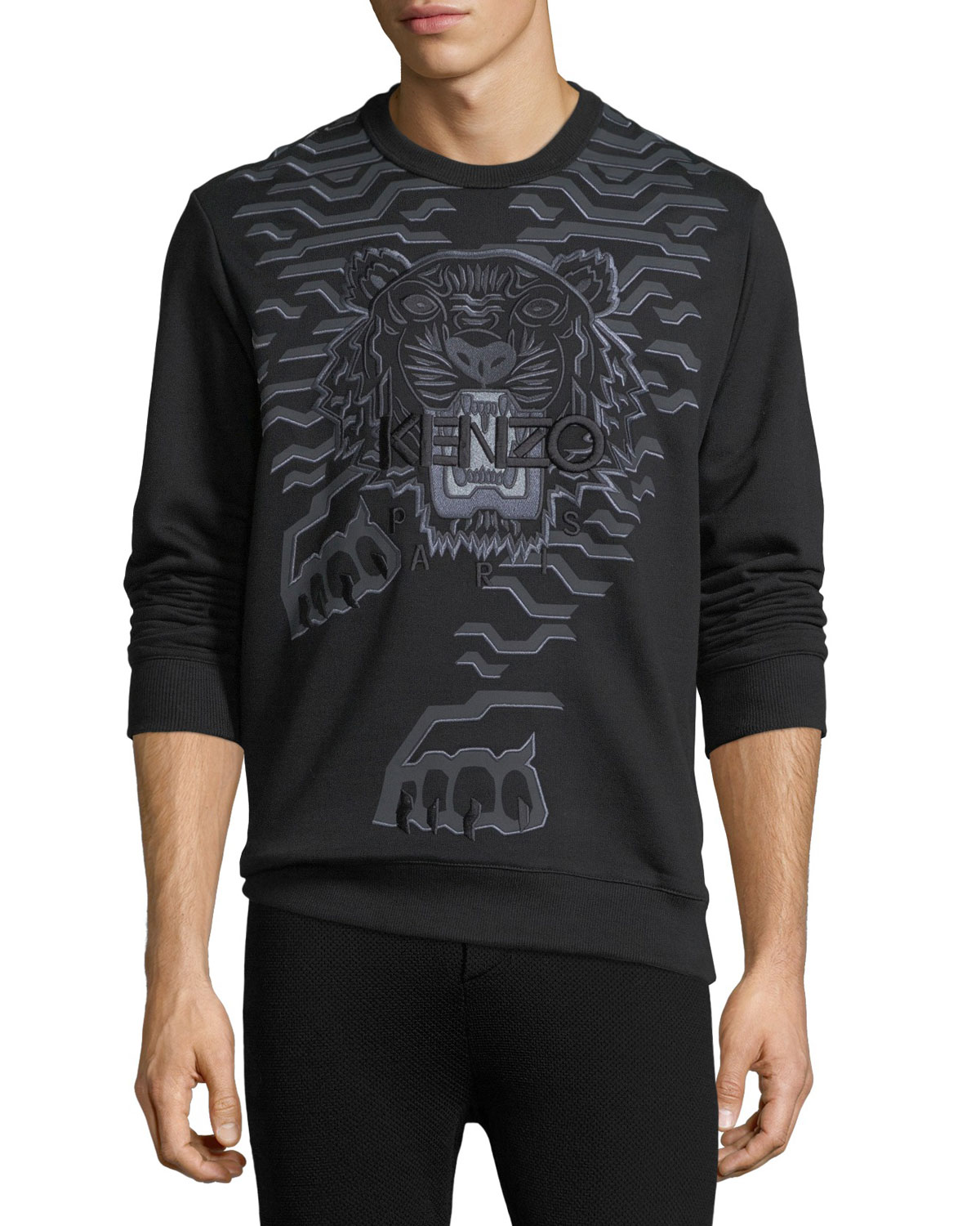 Geometric Tiger-Graphic Sweatshirt