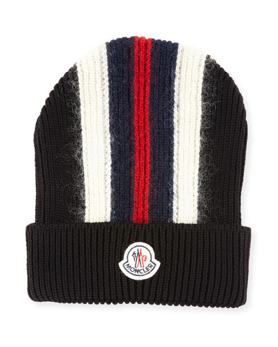 Men's Wool-Blend Striped Logo Beanie Hat