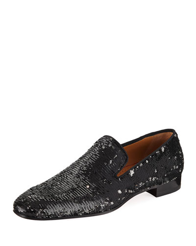 Dandelion Men's Paillette-Embellished Red Sole Loafer
