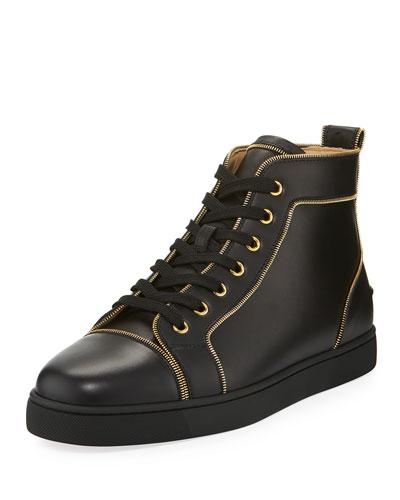 Louis Z Men's Zip-Trim Leather High-Top Sneakers