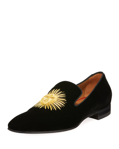 Morning Dandelion Embroidered Velvet Slipper