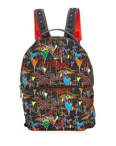 Backloubi Men's Graffiti-Print Backpack
